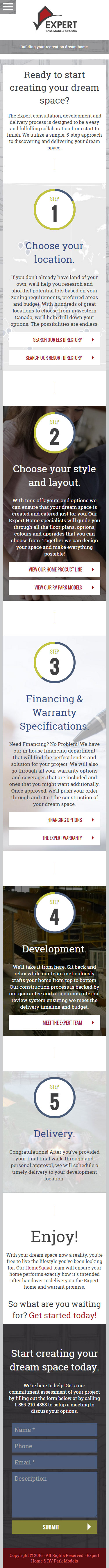 Expert Homes - Mobile Sales Process Page
