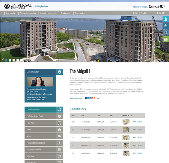 Universal Properties Web Design Wireframe