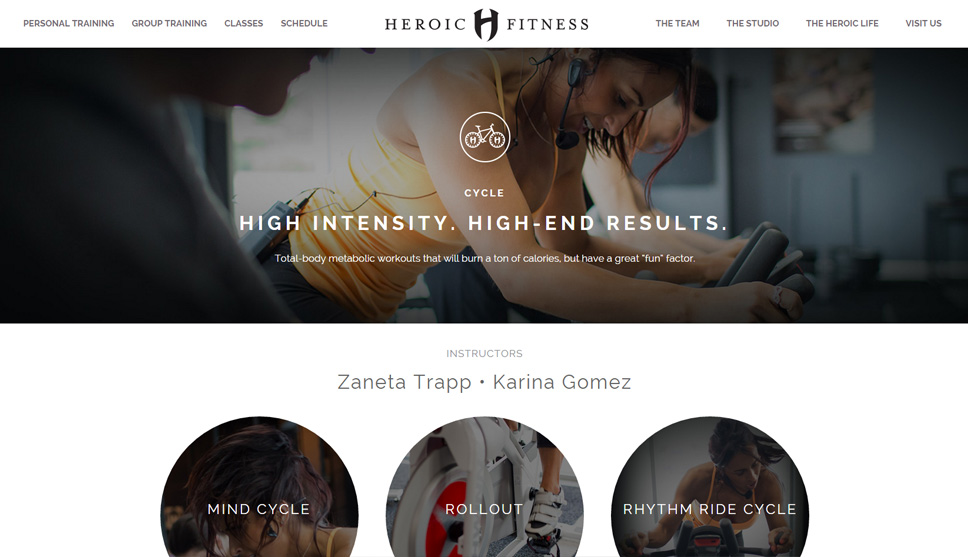 Heroic Fitness Website Design