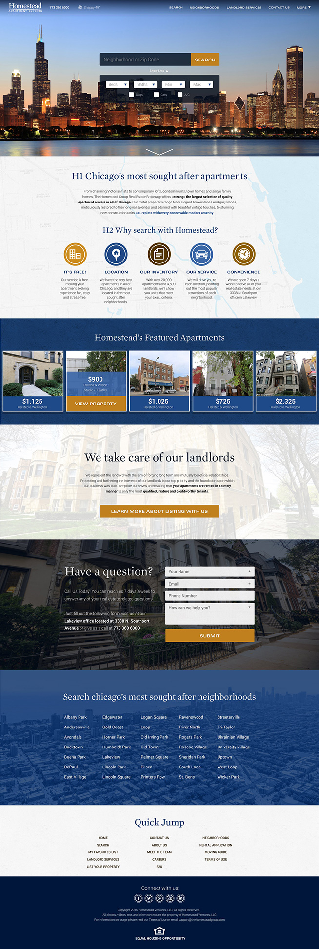 Homestead Group Real Estate Website Design