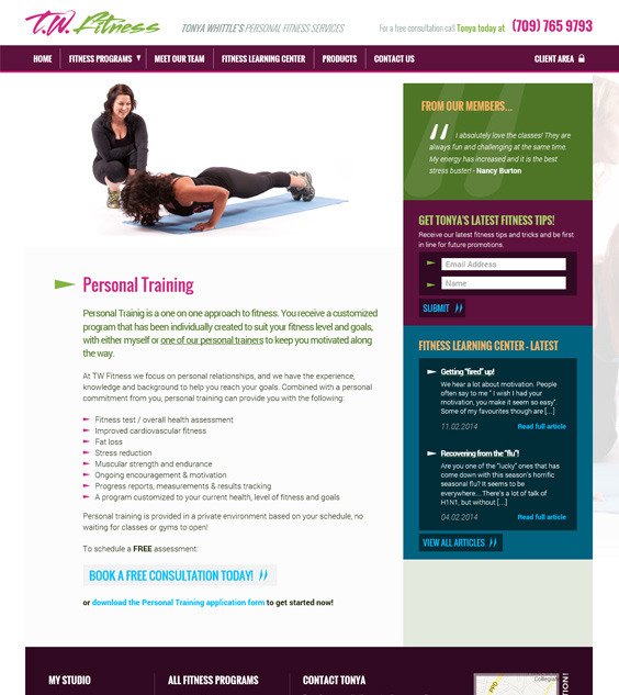 TW Fitness Website Design